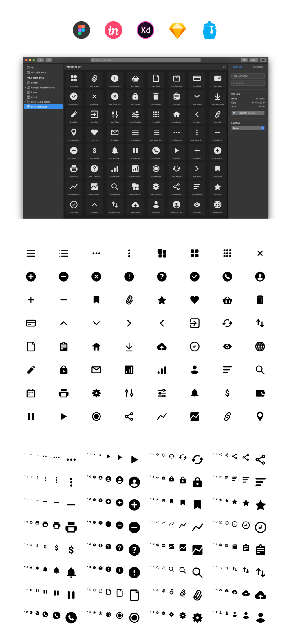 64个免费基本图标插图