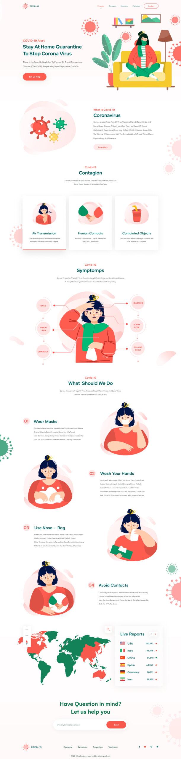 新冠病毒主题网站着陆页设计插图