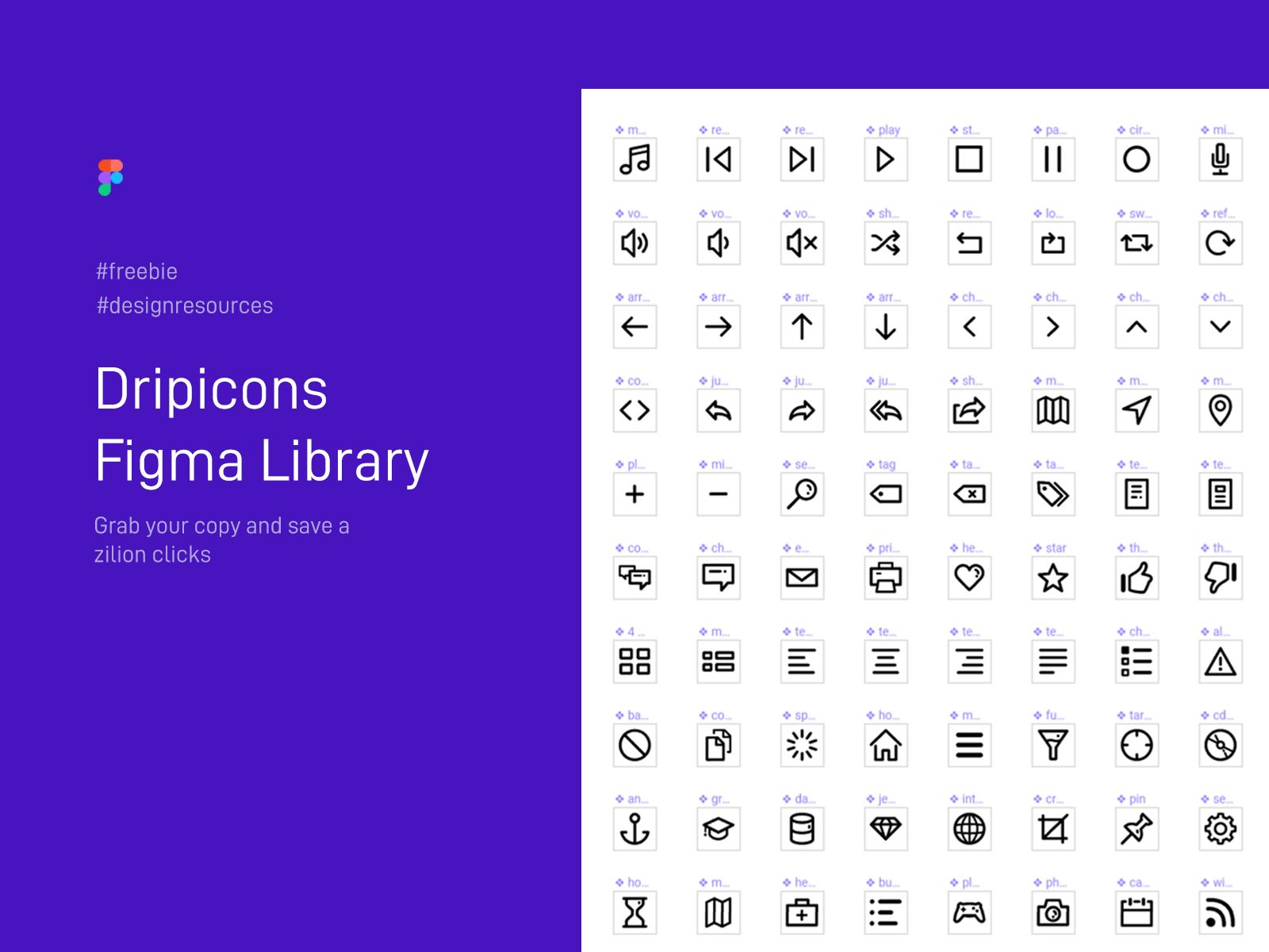 适用于Figma工具的Dripicons图标组件库插图