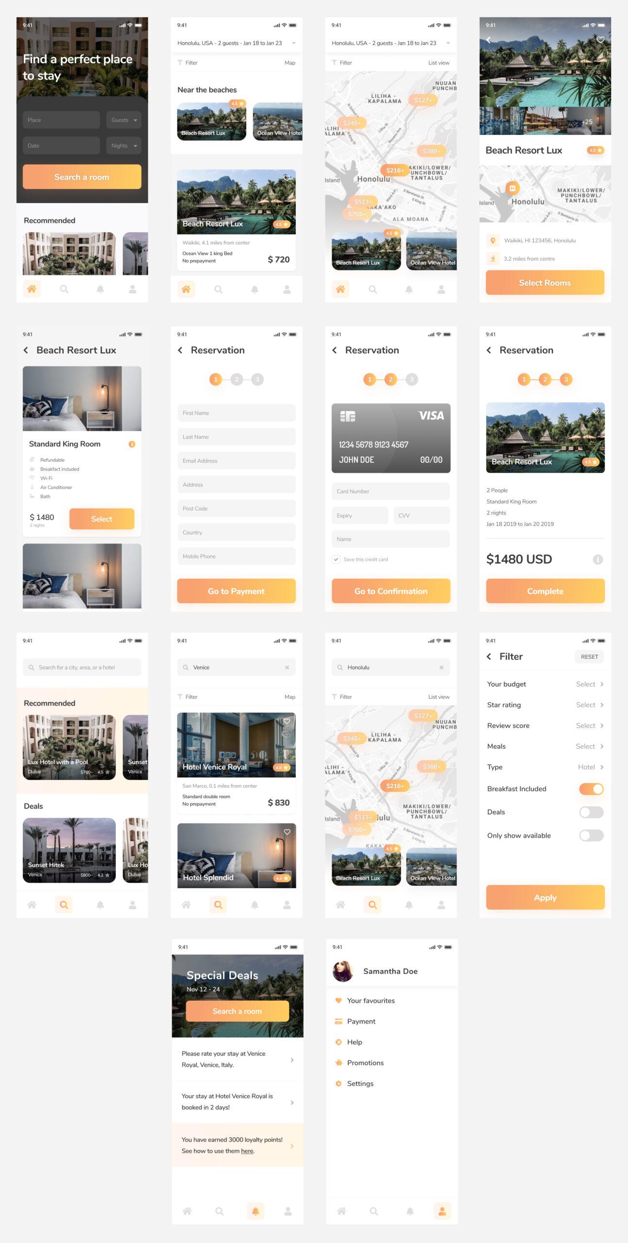 Hotelify-酒店预订应用程序设计UI插图