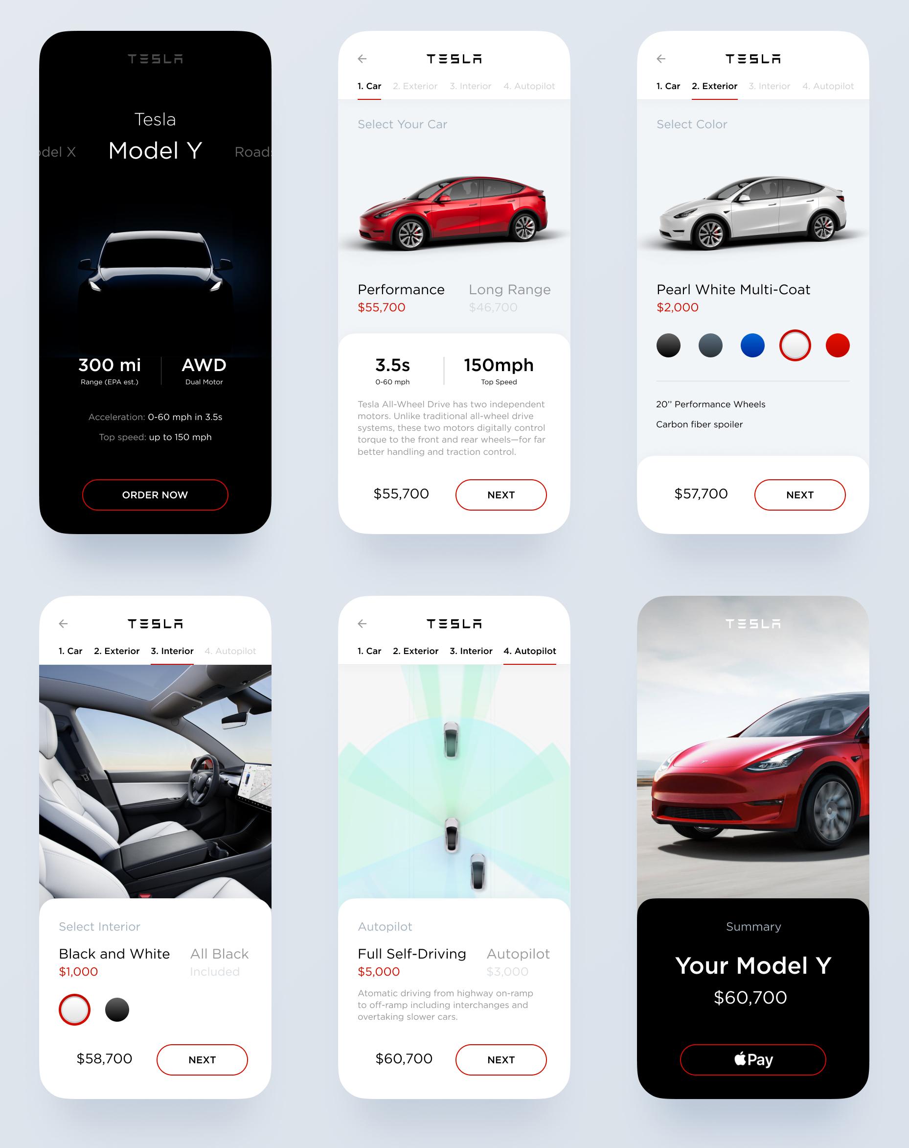 Tesla Model Y智能汽车概念用户界面UI套件插图