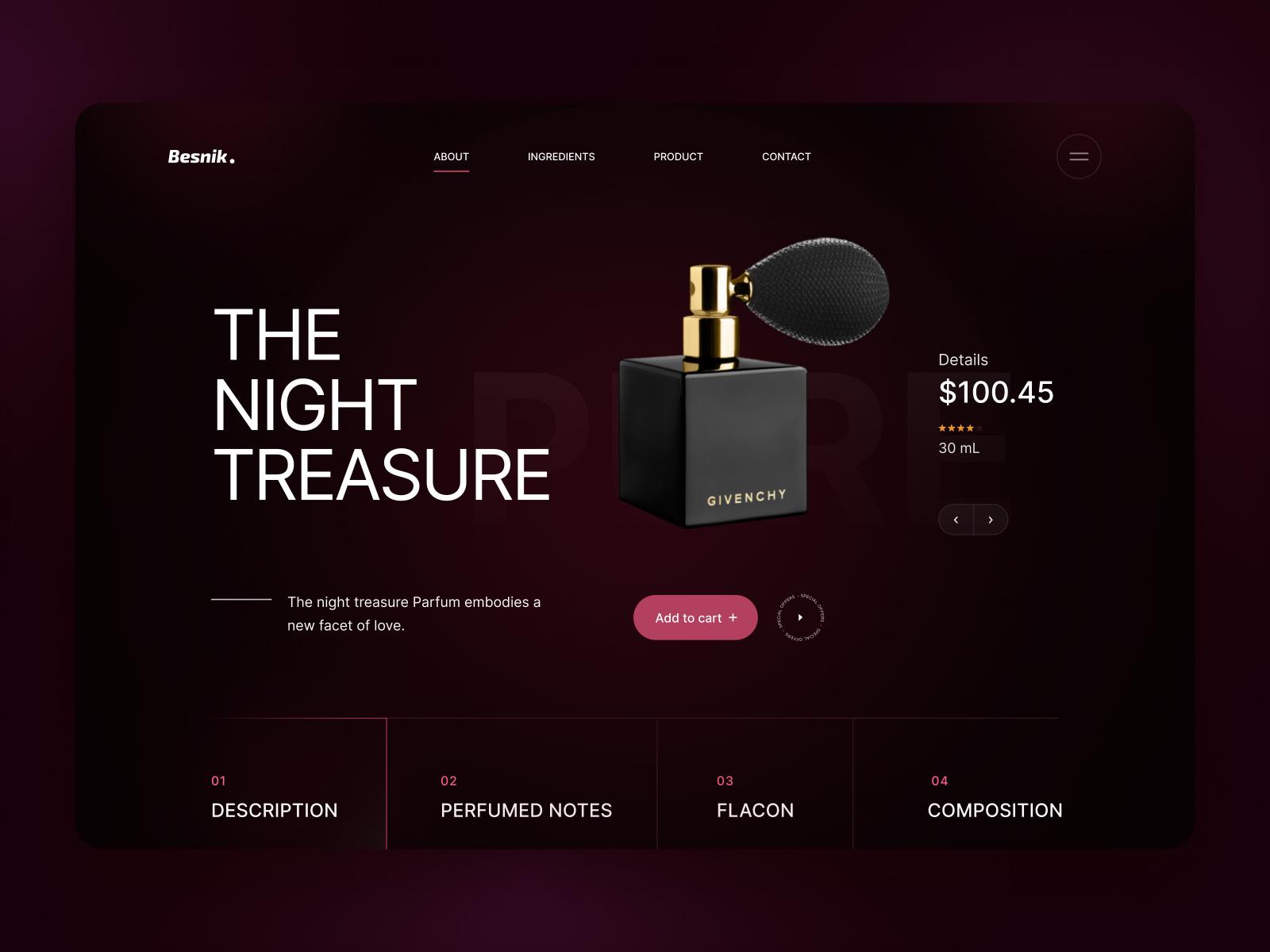 香水化妆品商店网站网页设计模板插图
