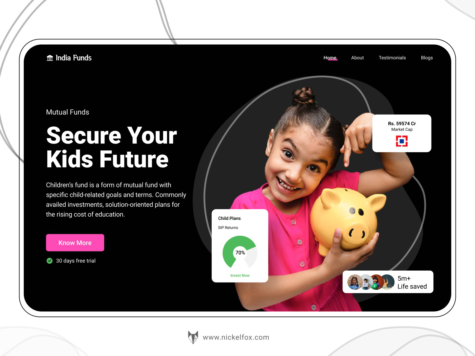 共同基金网站标题着陆页设计模板插图