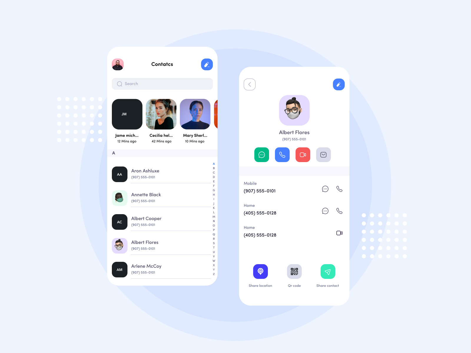 通讯录App应用程序界面设计模板插图