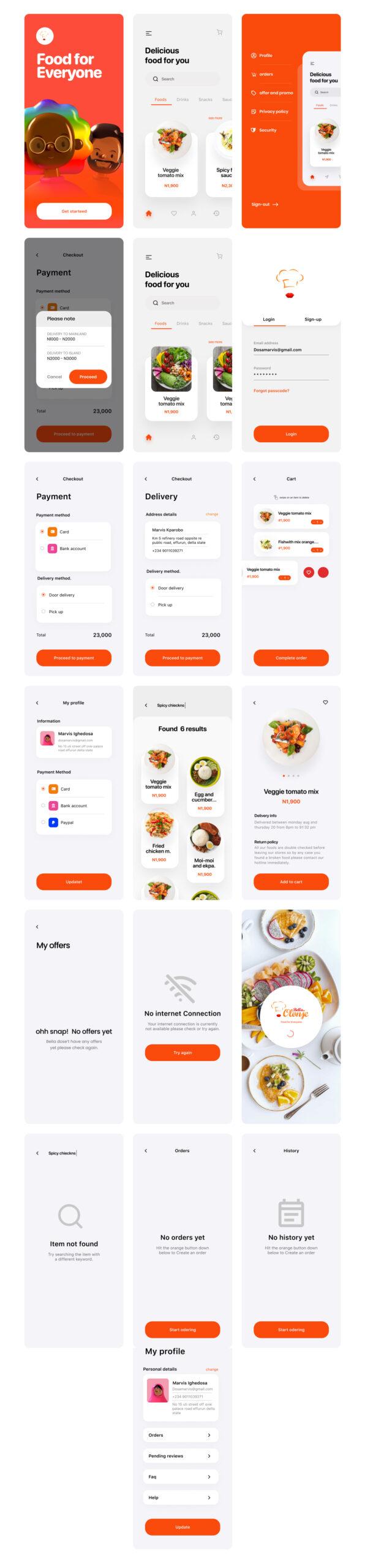 美食APP应用程序免费用户界面套件插图