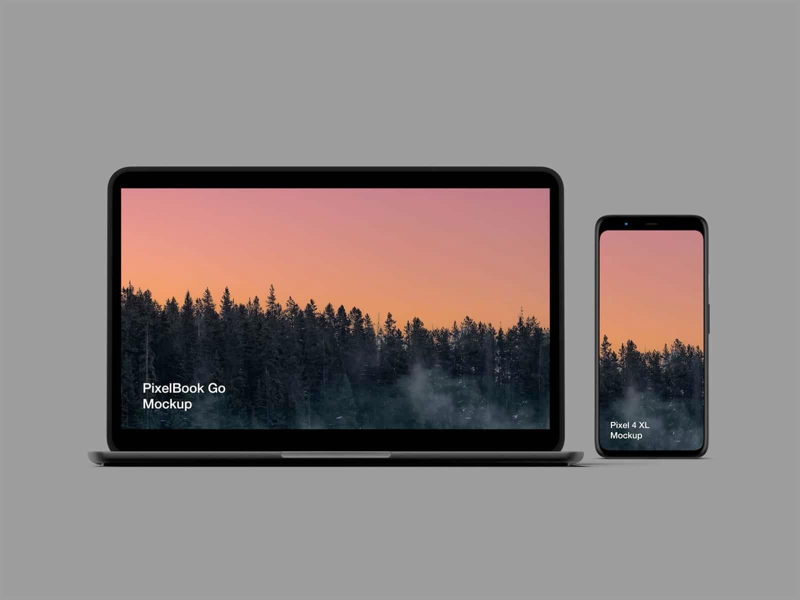 免费手机Pixel 4和笔记本Pixelbook Go样机插图