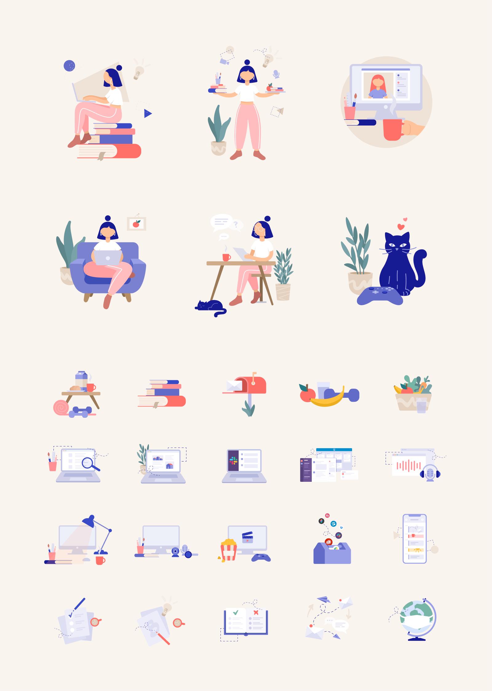 25+免费远程工作矢量插画插图