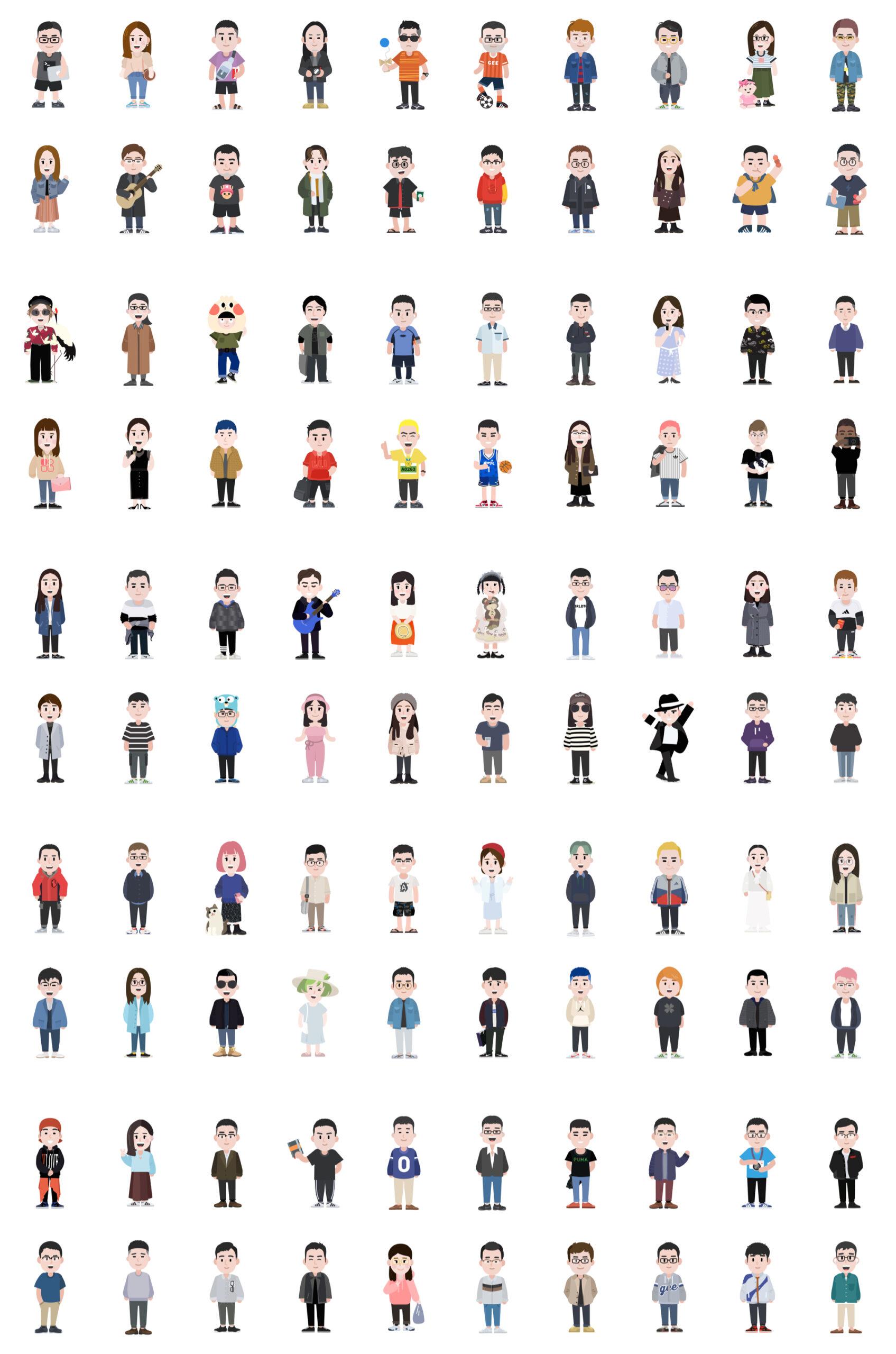 GEE! ME-100个卡通人物插画插图