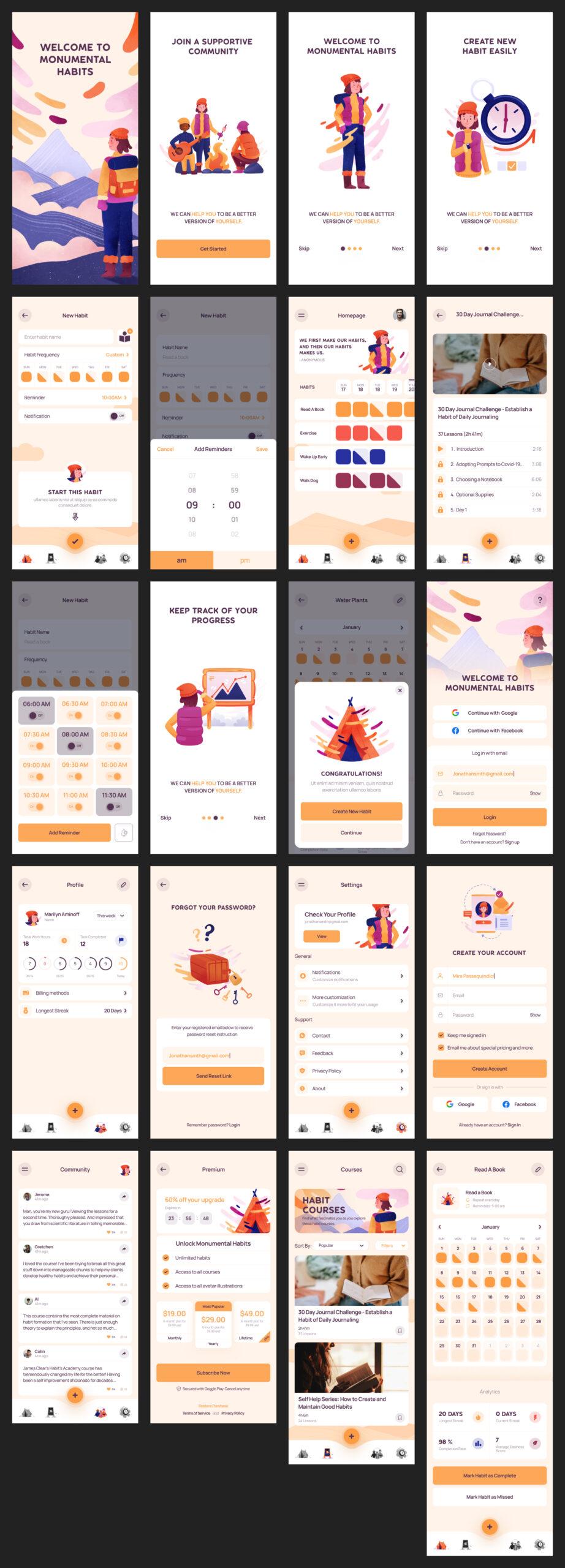 生活习惯免费用户界面工具包插图