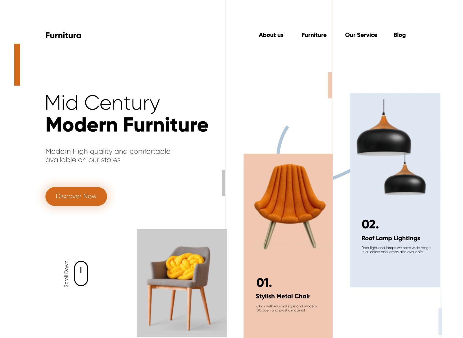 现代家具网站页面设计模板插图