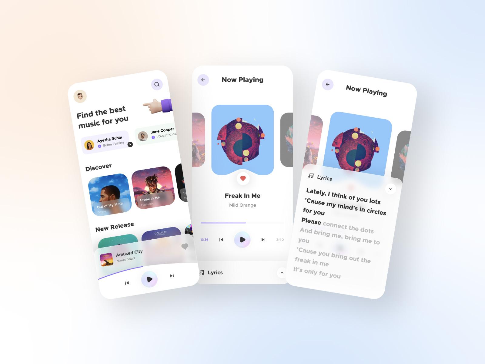 音乐播放器App应用程序界面设计免费套件插图