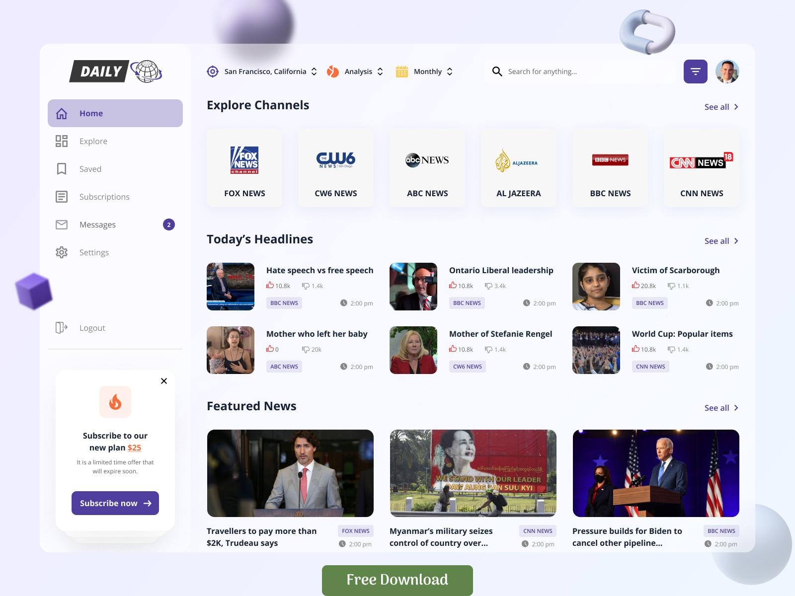 新闻Web应用程序仪表板概念设计模板插图