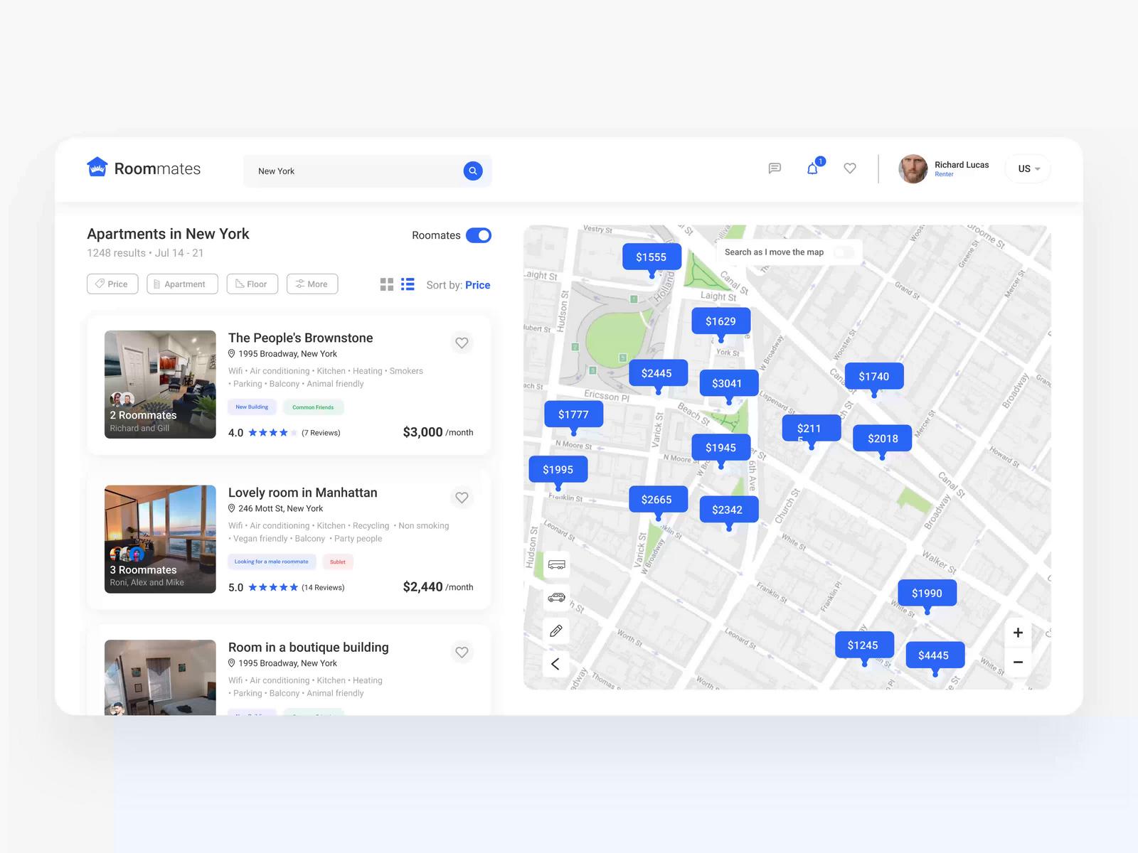 寻找公寓出租Web应用概念设计套件插图
