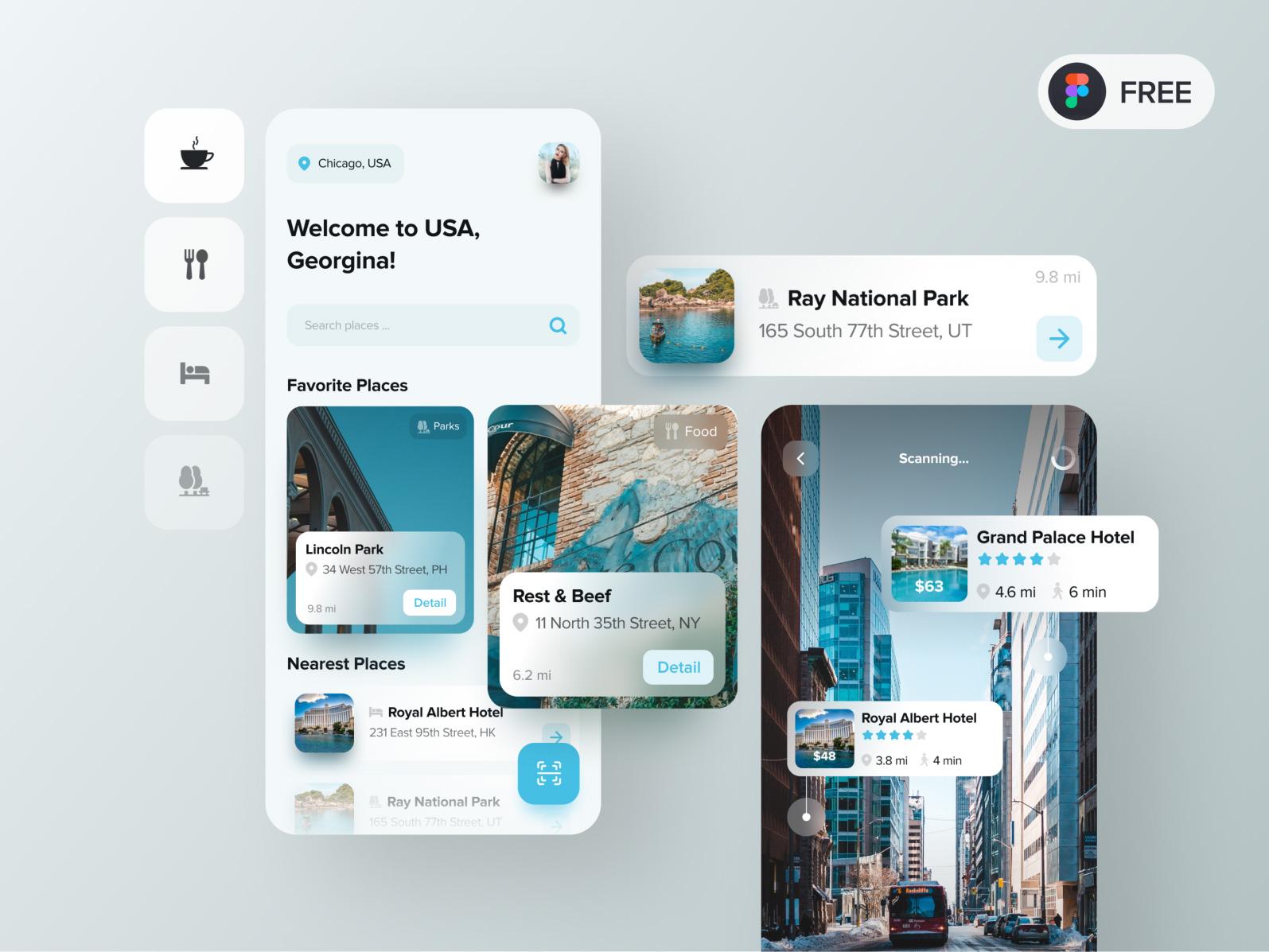 旅行AR应用程序概念设计套件插图