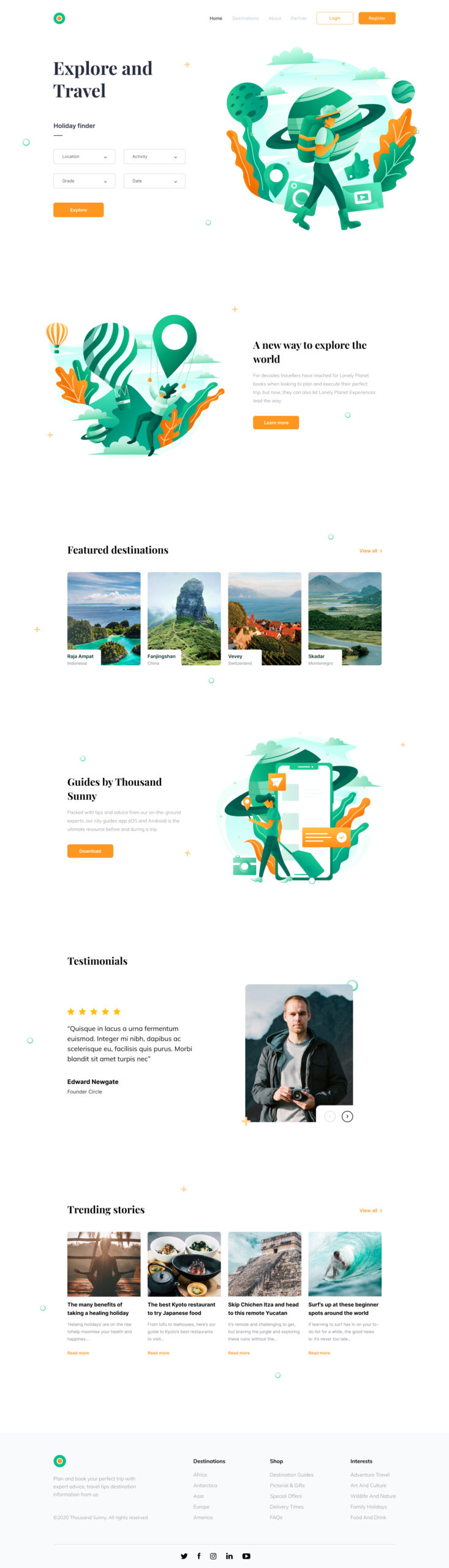 旅行旅游服务网站着陆页设计模板插图