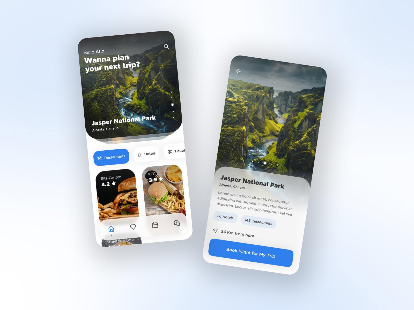 旅游应用程序界面概念设计模板插图