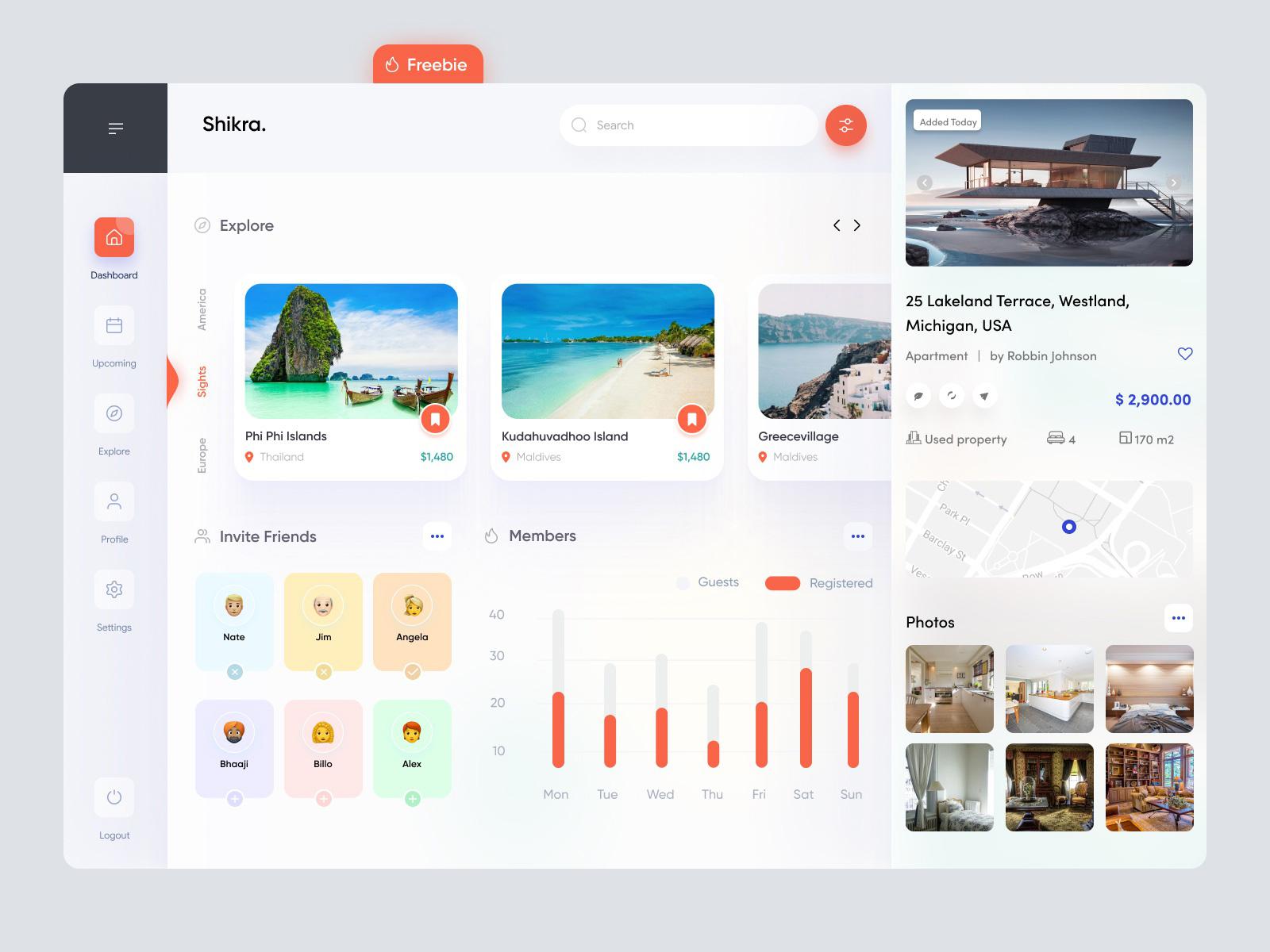旅游仪表盘用户界面概念设计免费模板插图