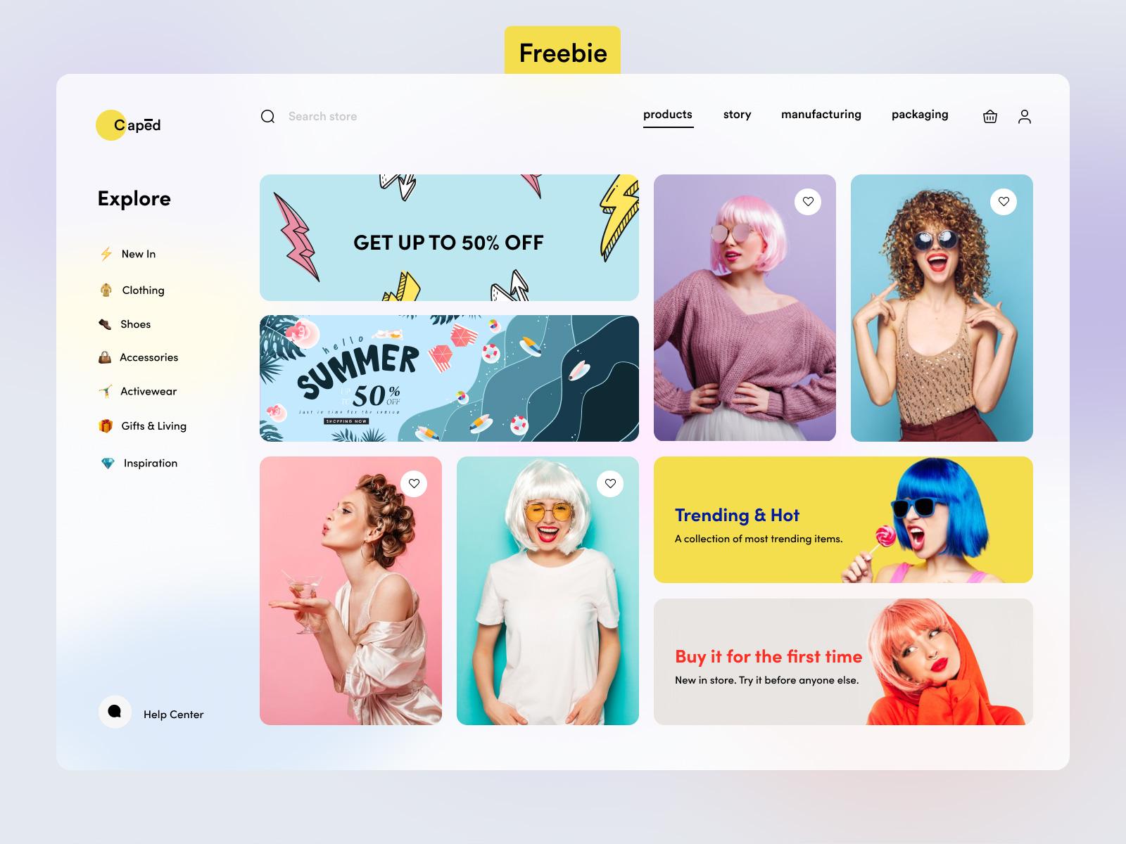 假发商店电子商务网站用户界面设计模板插图