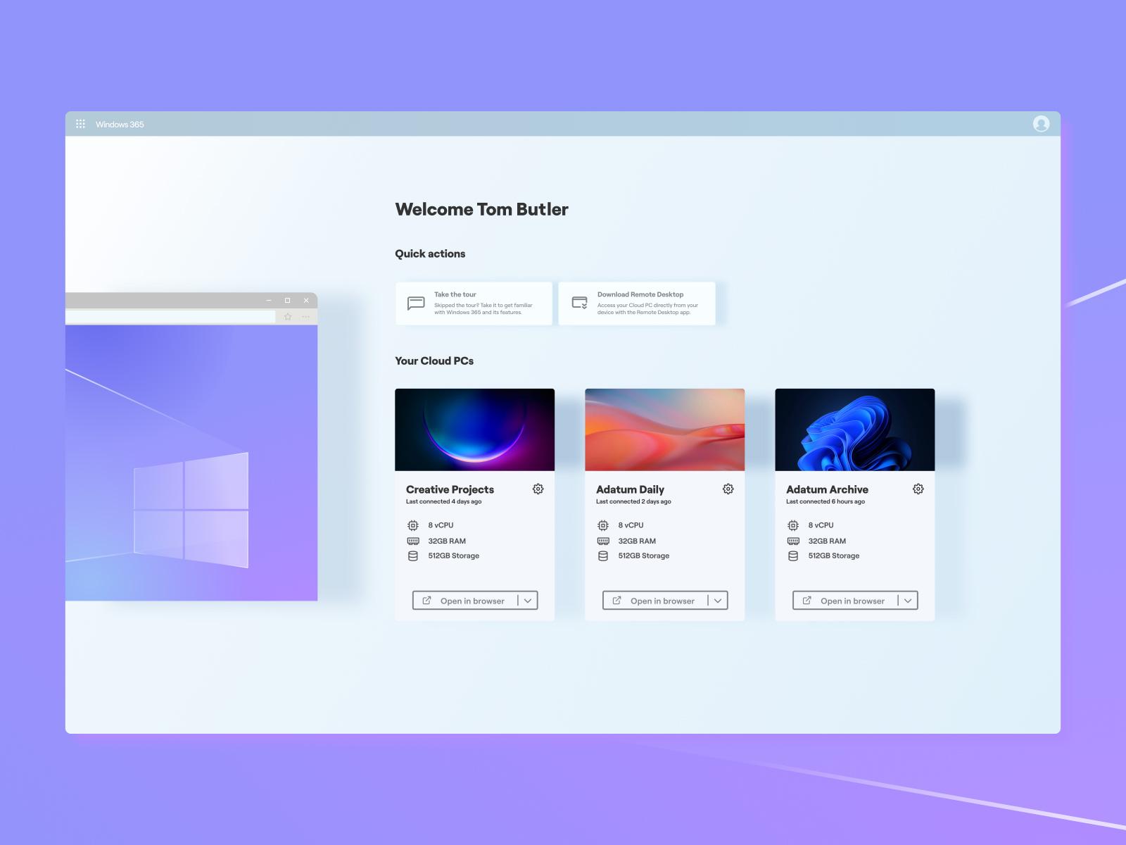 Windows 365仪表盘设计模板插图