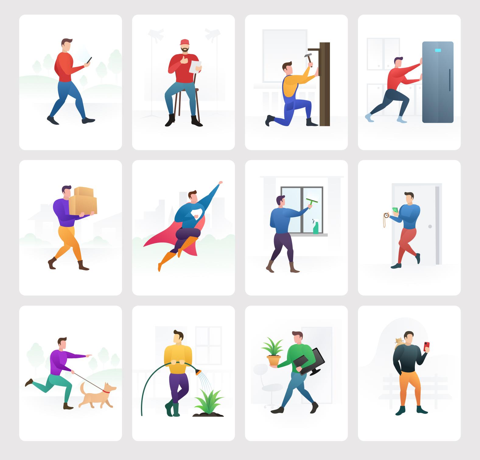 家庭佣人主题免费插画素材包插图